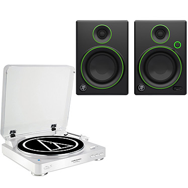 Audio-Technica AT-LP60BT Blanc + Mackie CR4