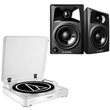 Audio-Technica AT-LP60BT Blanc + M-Audio AV 42