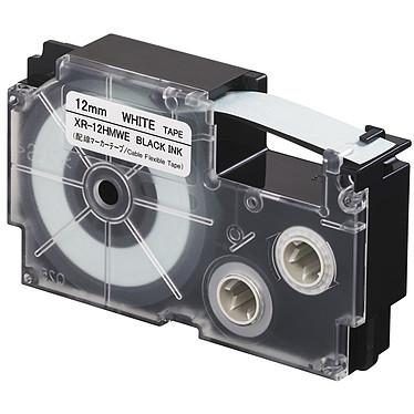 Casio XR-12HMWE Cinta flexible para cables de 12 mm x 5,5 m negro sobre blanco para etiquetadoras KL-120, KL-130, KL-820, KL-7400, KL-HD1, KL-G2