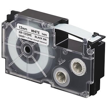 Casio XR-12GWE Cinta adhesiva de alta resistencia 12 mm x 5,5 m negro sobre blanco para etiquetadoras KL-120, KL-130, KL-820, KL-7400, KL-HD1, KL-G2