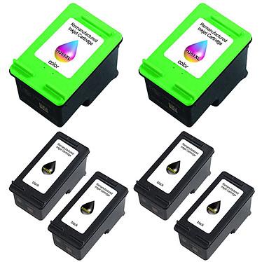 Megapack cartouches compatibles HP 350XL/351XL (Noir, Cyan, Magenta et jaune) Pack de 6 cartouches d'encre compatibles HP 350XL (CB336E) / 351XL (CB338E) (4 x noir et 2 x couleur cyan/magenta/jaune)