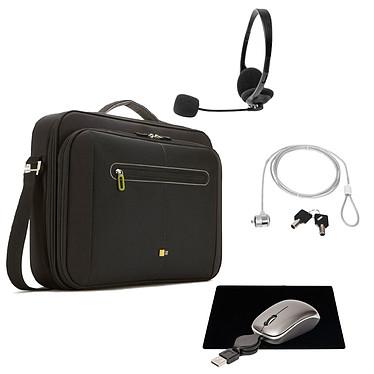 Case Logic PNC-218 + pack d'accessoires OFFERT !!! Sacoche pour ordinateur portable (jusqu'à 18'') + casque-micro stéréo, souris de voyage à câble USB rétractable, tapis de souris et antivol à clé OFFERTS !!!