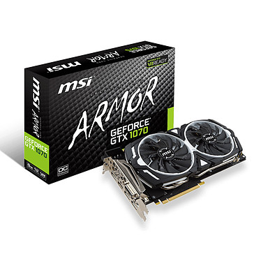 MSI GeForce GTX 1070 ARMOR 8G OC 8192 Mo DVI/HDMI/Tri DisplayPort - PCI Express (NVIDIA GeForce avec CUDA GTX 1070)