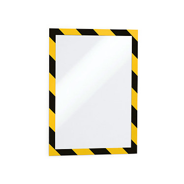Durable Sachet de 2 cadres Duraframe Security A4 Jaune/Noir Sachet de 2 cadres d'affichage adhésifs format A4 bords jaune et noir pour avertissements, dangers divers, etc.