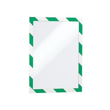 Durable Sachet de 2 cadres Duraframe Security A4 Vert/Blanc Sachet de 2 cadres d'affichage adhésifs format A4 bords vert et blanc pour plans d'évacuation, premiers secours, sauvetage etc.