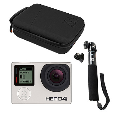 GoPro HERO 4 : Silver Edition + XSories U-Shot Tripod Mount Noir + XSories Capxule Small Soft Case Noir