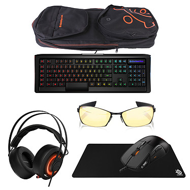 SteelSeries Deluxe Pack (Christmas 2016 Edition) Ensemble gaming complet (clavier Apex M800 + sac Apex Bag + souris Rival 700 + tapis QcK XXL + casque Siberia 650 + lunettes Gunnar Scope Onyx Carbon)