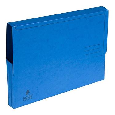 Exacompta Chemises à poche carte lustrée 265g bleu (x5) Lot de 5 chemises à poche en carte lustrée, 265 g, A4