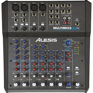 Alesis Multimix 8 USB FX Mezclador compacto de 8 canales con 12 entradas, efectos y tarjeta de audio USB integrada
