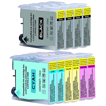 Megapack cartouches compatibles Brother LC970 / LC1000 (cyan, magenta, jaune, noir)