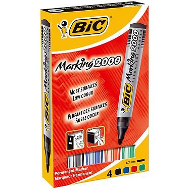 BIC Marking 2000 Etui de 4 marqueurs assortis permanents avec pointe ogive