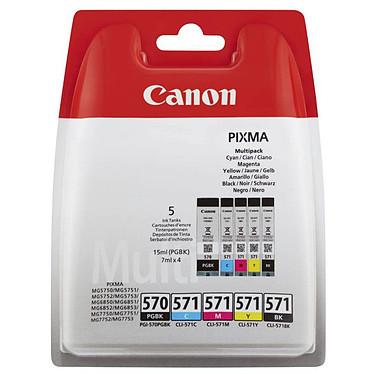 Canon PGI-570/CLI-571 BK/C/M/Y Lot de 5 cartouches (2x Noir, Cyan, Magenta, Jaune)