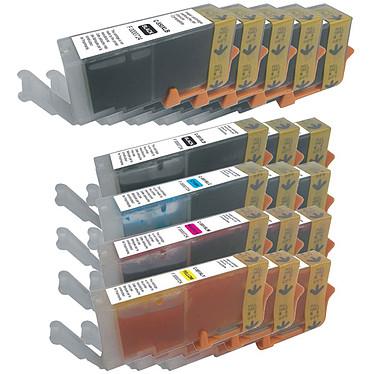 Ultrapack Canon PGI-550 XL + CLI-551 XL cartuchos compatibles (C/M/J/N) Paquete de 17 cartuchos de tinta (5 negros XL, 3 negros XL, 3 negros XL, 3 cian, 3 magenta, 3 amarillos) compatibles con Canon PGI-550 XL + CLI-551 XL