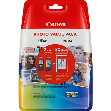 Canon PG-540/CL-541 XL Photo Value Pack Lote de 2 cartuchos (negro, color) (220 páginas al 5%) + papel fotográfico 10 x 15 cm (50 hojas)