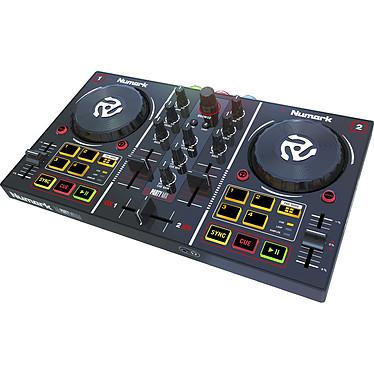 Numark Party Mix Controlador USB para DJ de 2 vías, 8 pads, tarjeta de sonido y luces