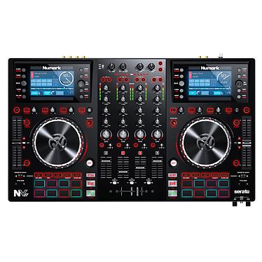 Numark NVII Controlador de DJ de 4 vías, 16 pads, tarjeta de sonido para Serato DJ