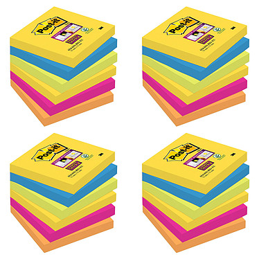 Post-it Bloc Super Sticky 90 feuillets 76 x 76 mm Rio X 24 Lot de 24 blocs de 90 feuillets 76 x 76 mm coloris assortis Rio