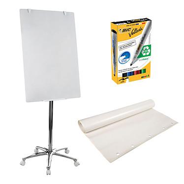 Bi-Office Chevalet de conférence 70 x 100 cm + recharge papier + marqueurs