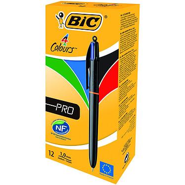 BIC 4 couleurs Pro x 12 Boite de 12 stylos bille 4 en 1 rechargeable avec pointe moyenne 1 mm