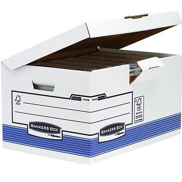 Fellowes System Conteneur flip top maxi Bleu Conteneur à archives en carton avec couvercle rabattable 390 x 310 x 560 mm