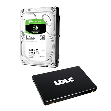Seagate HDD BarraCuda 3 To + LDLC SSD F7 Plus 240 GB