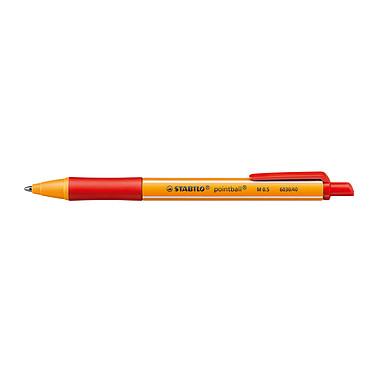 STABILO Pointball Rouge Stylo bille rétractable et rechargeable avec pointe fine 0.5 mm encre rouge