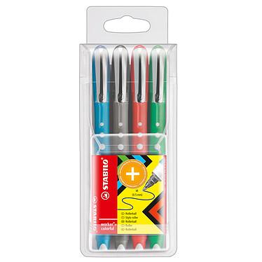 STABILO Worker Colorful Pochette x 4 Assortis Pochette de 4 stylos roller 0.5 mm à encre liquide assortis