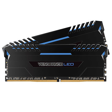 Corsair Vengeance LED Series 16 Go (2x 8 Go) DDR4 3200 MHz CL16 - Bleu Kit Dual Channel 2 barrettes de RAM DDR4 PC4-25600 - CMU16GX4M2C3200C16B (garantie à vie par Corsair)