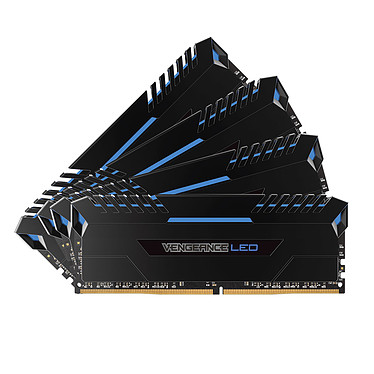 Corsair Vengeance LED Series 32 Go (4x 8 Go) DDR4 3000 MHz CL16 - Bleu Kit Quad Channel 4 barrettes de RAM DDR4 PC4-24000 - CMU32GX4M4C3000C16B (garantie à vie par Corsair)