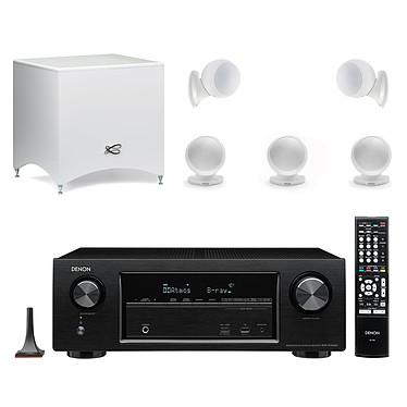 Denon AVR-X1300W Noir + Cabasse Alcyone 2 Pack 5.1 Blanc Ampli-tuner Home Cinema 3D Ready 7.2 AirPlay avec 6 entrées HDMI 4K Ultra HD, HDCP 2.2, Wi-Fi, Bluetooth, Dolby Atmos et DTS:X + Pack d'enceintes 5.1