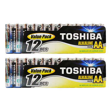 Toshiba Piles Alcalines AA LR6 (par 24) Pack de 24 piles AA (LR6)
