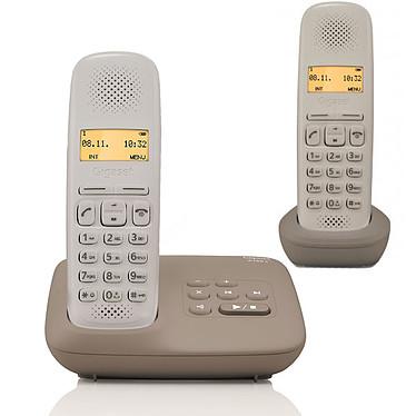 Gigaset A150A Duo Umbra Taupe Téléphone DECT sans fil avec répondeur et combiné supplémentaire (version française)