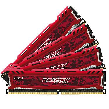 Ballistix Sport 32 Go (4 x 8 Go) DDR4 2400 MHz CL16 SR - Rouge Kit Quad Channel  RAM DDR4 PC4-19200 - BLS4C8G4D240FSEK (garantie 10 ans par Crucial)