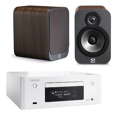 Denon CEOL N9 Blanc + Q Acoustics 3020 Bois Micro-chaîne CD MP3 USB réseau Wi-Fi Bluetooth DLNA avec contrôle iOS et Android + Enceinte bibliothèque compacte (par paire)