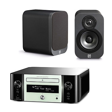 Marantz Melody Stream M-CR611 Blanc + Q Acoustics 3010 Graphite Mini-système stéréo réseau CD, Wi-Fi, Bluetooth, NFC, AirPlay, DLNA et USB + Enceinte bibliothèque compacte (par paire)