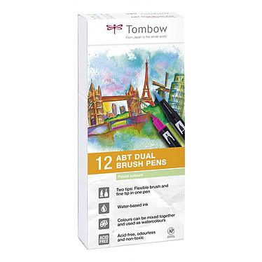 TOMBOW ABT Dual Brush Pen Couleurs Pastel Pochette de 12 stylos feutre avec 2 pointes (fine et pinceau) assortis