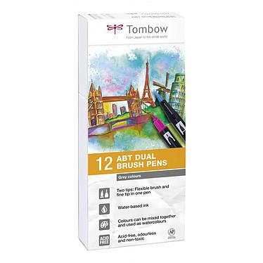 TOMBOW ABT Dual Brush Pen Tons Gris Pochette de 12 stylos feutre avec 2 pointes (fine et pinceau) Gris