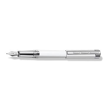 Staedtler Premium Resina Blanc (M) Stylo plume en acier poli avec pointe moyenne