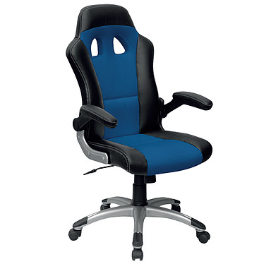 "MT international MTGA-284 Bleu Fauteuil ""Racing Chair"" haut dossier en mesh avec accoudoirs fixes"