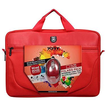 "PORT Designs Polaris Bundle 15.6"" (Rojo) Cartera para portátil (hasta 15,6"") + ratón USB libre!"
