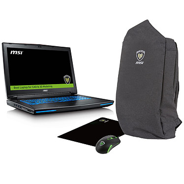 "MSI WT72 6QN-220FR + Workstation Travel Pack OFFERT !* Intel Core i7-6920HQ 64 Go SSD 512 Go + HDD 1 To 17.3"" LED Full HD NVIDIA Quadro M5500 Graveur Blu-ray Wi-Fi AC/Bluetooth Webcam Windows 10 Professionnel 64 bits (garantie constructeur 3 ans)"