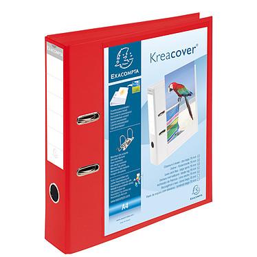 Exacompta Kreacover Classeur à levier 70mm Rouge Classeur à levier 2 anneaux avec dos de 70mm pour documents A4 avec pochette extérieure