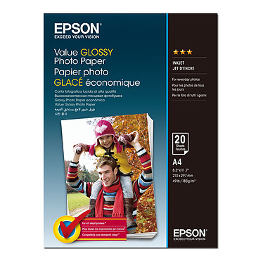 Epson Value Glossy A4 (C13S400035) Papier photo glacé A4 (20 feuilles)