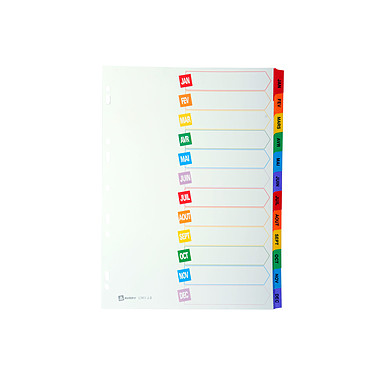 Avery intercalaire mylar carte A4+ 12 touches mensuelles