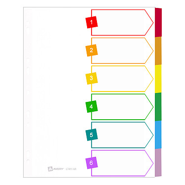 Avery intercalaire mylar carte A4+ 6 touches Intercalaire 6 touches neutres au format A4+
