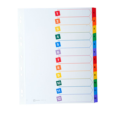 Avery Intercalaires Mylar Format A4 12 touches numériques