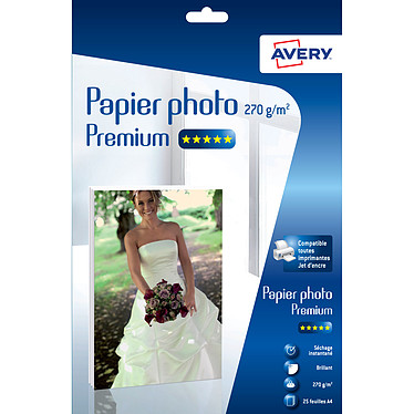 Avery Papier photo brillant premium A4 (25 feuilles) Papier photo brillant de haute qualité pour imprimante jet d'encre - 270g/m² - A4 - 25 feuilles