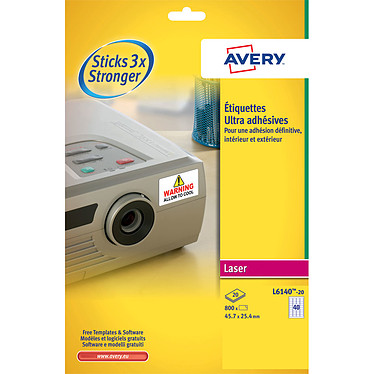 Avery Etiquetas ultra adesivas  25,4 x 45,7 mm x 800 Caja de 800 etiquetas de poliéster blanco ultra-adhesivo en formato 25,4 x 45,7 mm para impresoras láser.