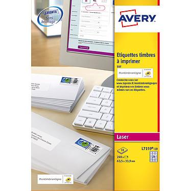 Avery Etiquettes pour timbres à imprimer 63.5 x 33.9 mm x 240 Boite de 240 étiquettes pour timbres à imprimer 63.5 x 33.9 mm pour imprimante laser