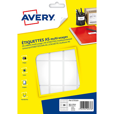Avery Etiquettes de bureau multi-usages 48.5 x 25 mm x 320